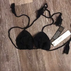 Vitamin A black crochet bikini top size medium